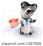 Clipart Of A 3d Doctor Or Veterinarian Panda Wearing Sunglasses Holding Up A Thumb Down And A Piggy Bank Royalty Free Illustration by Julos