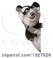 Clipart Of A 3d Happy Bespectacled Panda Pointing Around A Sign Royalty Free Illustration
