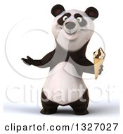 Clipart Of A 3d Happy Panda Holding A Waffle Ice Cream Cone And Presenting Royalty Free Illustration