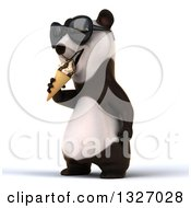 Clipart Of A 3d Happy Panda Wearing Sunglasses Facing Slightly Left And Eating A Waffle Ice Cream Cone Royalty Free Illustration