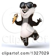 Clipart Of A 3d Happy Panda Wearing Sunglasses Jumping And Holding A Waffle Ice Cream Cone Royalty Free Illustration