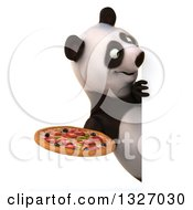 Clipart Of A 3d Happy Panda Holding A Pizza And Looking Around A Sign Royalty Free Illustration
