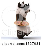 Clipart Of A 3d Happy Panda Wearing Sunglasses Holding A Pizza And Walking To The Right Royalty Free Illustration