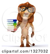 Clipart Of A 3d Bespectacled Male Lion Standing And Holding A Stack Of Books Royalty Free Illustration