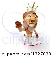 Clipart Of A 3d Male Lion King Holding Up A Thumb Down And A Book Royalty Free Illustration by Julos