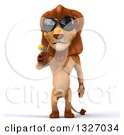 Clipart Of A 3d Male Lion Wearing Sunglasses And Sipping A Beverage Royalty Free Illustration
