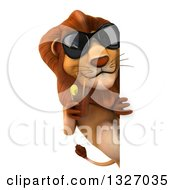 Clipart Of A 3d Male Lion Wearing Sunglasses And Sipping A Beverage Around A Sign Royalty Free Illustration