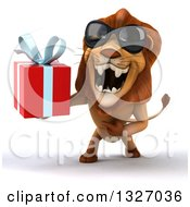 Clipart Of A 3d Male Lion Wearing Sunglasses Roaring And Holding A Gift Royalty Free Illustration