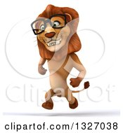 Clipart Of A 3d Bespectacled Male Lion Smiling And Sprinting Slightly To The Left Royalty Free Illustration