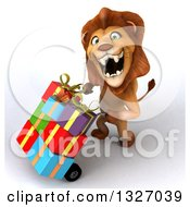 Clipart Of A 3d Male Lion Looking Up Roaring And Pushing A Dolly With Gifts To The Left Royalty Free Illustration