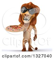 Clipart Of A 3d Male Lion Wearing Sunglasses And Holding A Pizza Royalty Free Illustration