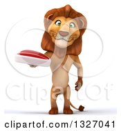 Clipart Of A 3d Male Lion Holding A Beef Steak Royalty Free Illustration