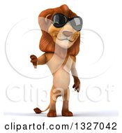 Clipart Of A 3d Male Lion Wearing Sunglasses And Giving A Thumb Down Royalty Free Illustration