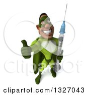 Clipart Of A 3d Buff Male Black Super Hero In Green Holding Up A Thumb And A Giant Syringe Royalty Free Illustration