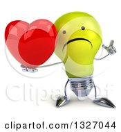 Clipart Of A 3d Unhappy Yellow Light Bulb Character Holding Up A Finger And A Heart Royalty Free Illustration