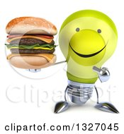 Clipart Of A 3d Happy Yellow Light Bulb Character Holding And Pointing To A Double Cheeseburger Royalty Free Illustration