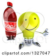 Clipart Of A 3d Happy Yellow Light Bulb Character Holding Up A Thumb And A Soda Bottle Royalty Free Illustration