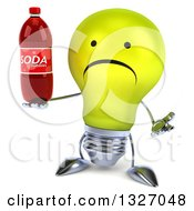 Clipart Of A 3d Unhappy Yellow Light Bulb Character Shrugging And Holding A Soda Bottle Royalty Free Illustration
