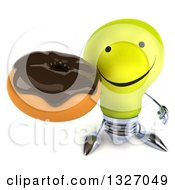 Clipart Of A 3d Happy Yellow Light Bulb Character Holding Up A Chocolate Glazed Donut Royalty Free Illustration