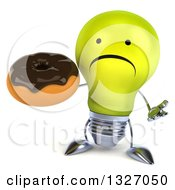 Clipart Of A 3d Unhappy Yellow Light Bulb Character Shrugging And Holding A Chocolate Glazed Donut Royalty Free Illustration