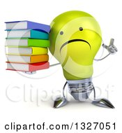 Clipart Of A 3d Unhappy Yellow Light Bulb Character Holding Up A Finger And Stack Of Books Royalty Free Illustration