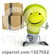 Clipart Of A 3d Happy Yellow Light Bulb Character Giving A Thumb Up And Holding Boxes Royalty Free Illustration