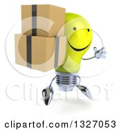 Clipart Of A 3d Happy Yellow Light Bulb Character Facing Slightly Right Jumping And Holding Boxes Royalty Free Illustration
