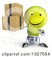 Clipart Of A 3d Happy Yellow Light Bulb Character Holding And Pointing To Boxes Royalty Free Illustration