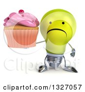 Clipart Of A 3d Unhappy Yellow Light Bulb Character Holding A Pink Frosted Cupcake Royalty Free Illustration