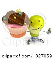 Clipart Of A 3d Happy Yellow Light Bulb Character Holding Up A Thumb And A Chocolate Frosted Cupcake Royalty Free Illustration