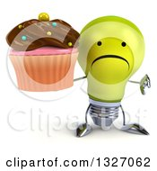 Clipart Of A 3d Unhappy Yellow Light Bulb Character Giving A Thumb Down And Holding A Chocolate Frosted Cupcake Royalty Free Illustration