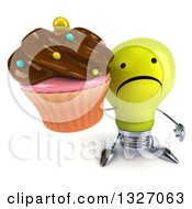 Clipart Of A 3d Unhappy Yellow Light Bulb Character Holding Up A Chocolate Frosted Cupcake Royalty Free Illustration