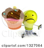 Clipart Of A 3d Unhappy Yellow Light Bulb Character Holding Up A Thumb Down And A Chocolate Frosted Cupcake Royalty Free Illustration