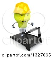 Clipart Of A 3d Happy Yellow Light Bulb Character Contractor Facing Slightly Right And Running On A Treadmill 2 Royalty Free Illustration