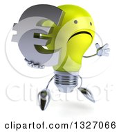 Clipart Of A 3d Unhappy Yellow Light Bulb Character Facing Slightly Right Jumping And Holding A Euro Symbol Royalty Free Illustration