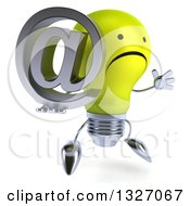 Clipart Of A 3d Unhappy Yellow Light Bulb Character Facing Slightly Right Jumping And Holding An Email Arobase At Symbol Royalty Free Illustration