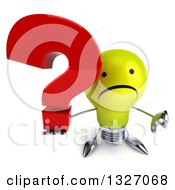 Clipart Of A 3d Unhappy Yellow Light Bulb Character Holding Up A Thumb Down And Question Mark Royalty Free Illustration