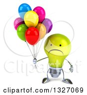 Clipart Of A 3d Unhappy Yellow Light Bulb Character Holding Party Balloons Royalty Free Illustration
