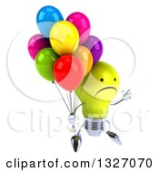 Clipart Of A 3d Unhappy Yellow Light Bulb Character Facing Slightly Right Jumping And Holding Party Balloons Royalty Free Illustration