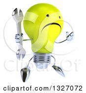 Clipart Of A 3d Unhappy Yellow Light Bulb Character Facing Slightly Right Jumping And Holding A Wrench Royalty Free Illustration