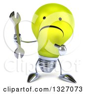 Clipart Of A 3d Unhappy Yellow Light Bulb Character Holding And Pointing To A Wrench Royalty Free Illustration