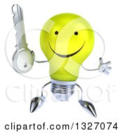 Clipart Of A 3d Happy Yellow Light Bulb Character Jumping And Holding A Key Royalty Free Illustration