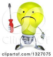 Clipart Of A 3d Unhappy Yellow Light Bulb Character Holding A Screwdriver Royalty Free Illustration