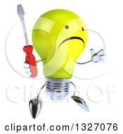 Clipart Of A 3d Unhappy Yellow Light Bulb Character Facing Slightly Right Jumping And Holding A Screwdriver Royalty Free Illustration