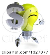 Clipart Of A 3d Unhappy Yellow Light Bulb Character Facing Slightly Right Jumping And Holding A Dollar Symbol Royalty Free Illustration