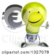 Clipart Of A 3d Happy Yellow Light Bulb Character Giving A Thumb Up And Holding A Euro Symbol Royalty Free Illustration