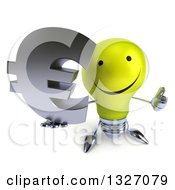 Clipart Of A 3d Happy Yellow Light Bulb Character Holding Up A Thumb And A Euro Symbol Royalty Free Illustration