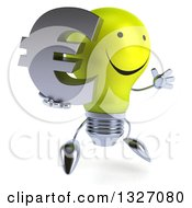 Clipart Of A 3d Happy Yellow Light Bulb Character Facing Slightly Right Jumping And Holding A Euro Symbol Royalty Free Illustration