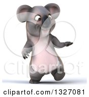 Clipart Of A 3d Koala Walking And Presenting Royalty Free Illustration