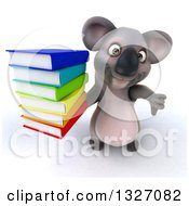 Clipart Of A 3d Koala Holding Up A Thumb Down And Stack Of Books Royalty Free Illustration